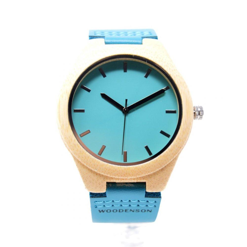 Reloj de madera correa azul claro Ladyblue