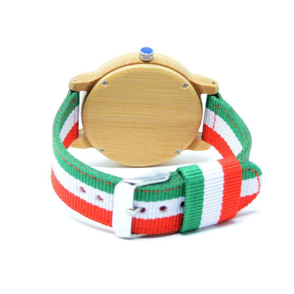 Reloj de madera de bambú con correa de banderas México e Italia